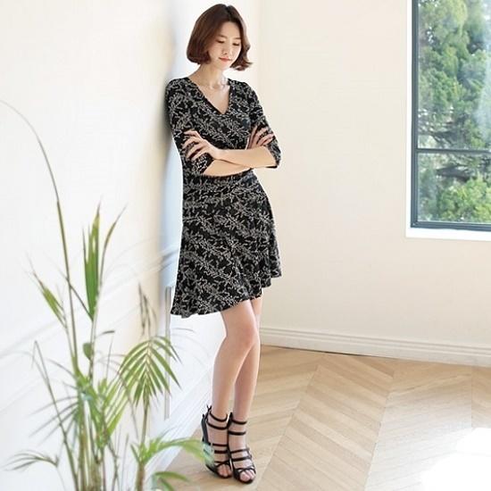 ナインNAINOP2300のフリージアラップワンピース 面ワンピース/ 韓国ファッション