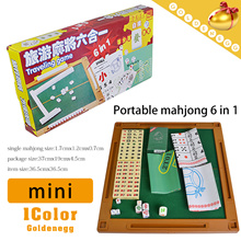 Happy Life ▶Partable Mahjong 6 in 1 Set◀ GFA-Mini version/ Funny Game/Poker Card/Drink Game/Folding Table/Light and Easily to carry/Dice/Casino Chips
