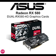 ASUS Dual Series Radeon RX580 OC Edition Best eSports【4GB GDDR5 4K Gaming】1380 MHz Boost Clock in OC mode, IP5X-Certified Fans, GPU Tweak II with Xsplit Gamecaster. 3 Years Warranty