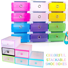 *Mamemon $2.10* DIY Clear Stackable Drawer Style Shoe Box Case Organizer Storage Rack Transparent