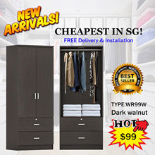 BEST seller!2door Wardrobe with 2 drawer outside. HASSLE FREE! with Free delivery+installation.