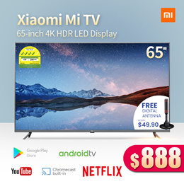 Xiaomi 65-inch 4K Ultra HD Smart LED TV Digital Ready Android TV with Google Playstore Youtube Netfl