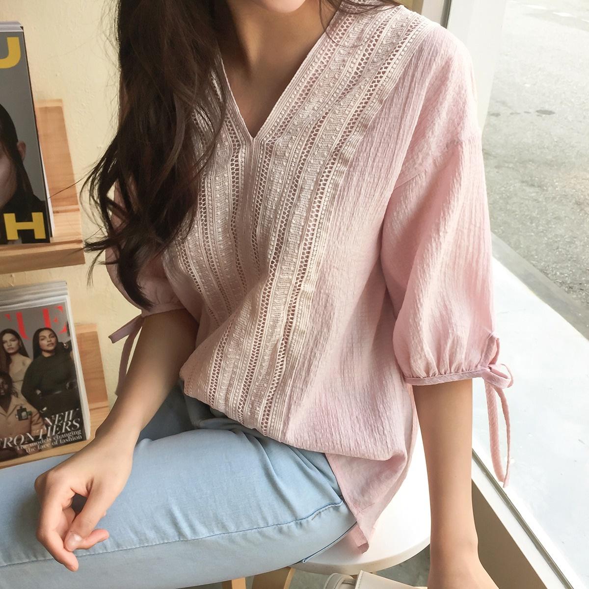 韓國正品 CHERRYKOKO 夏季新品 roller sweet 繡花荷葉邊袖子上衣