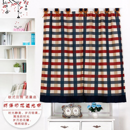 Kitchen Cloth Curtains Drapes short summary / Continental England grid small half-curtain