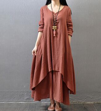 2ac99ae483 Vintage Women Cotton Linen Boho Long Maxi Dress Vestidos Casual Solid  Spring Loose Full Sleeve V