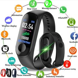 M3彩色IPS屏幕智能运动健身手镯血压氧气活动跟踪器适用于男性女性手表