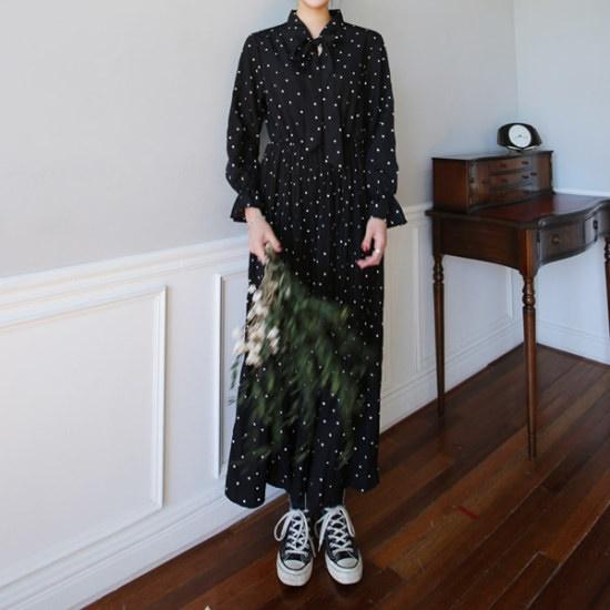 チョアジたらメルロウ・ドットワンピース 綿ワンピース/ 韓国ファッション