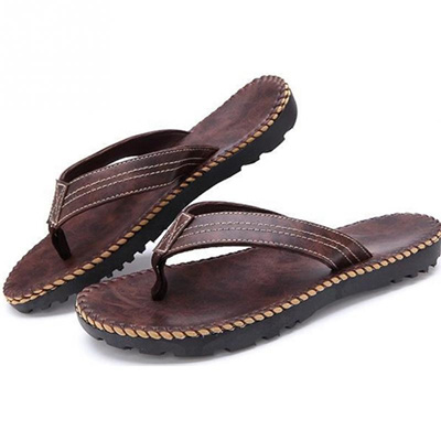 5bf2377a3 shop Hot Selling Summer Cool Men PU Leather Flip Flops British Style  Boardered Beach Sandals Male