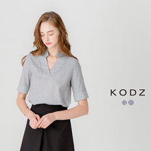 KODZ - Minimalistic Striped Blouse with Collar-170718