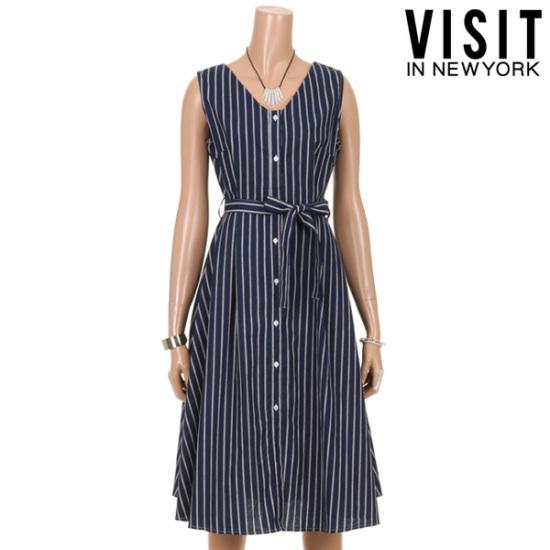 ・ビジット・インニューヨークボタンフレアSTワンピースVTGOP43 面ワンピース/ 韓国ファッション