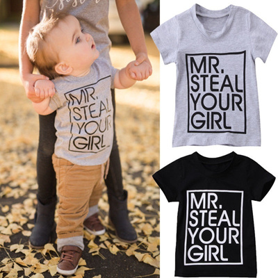 4d49db61549c 2018 Toddler Baby Kids Boy Girls MR steal T-shirt Cotton Short Sleeve  Summer Tops