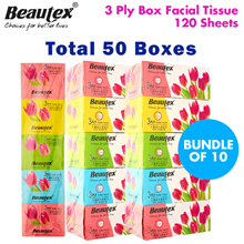 [Beautex] ★ 50 Boxes • 3 Ply Box Facial Tissue 120 Sheets Per Box ★