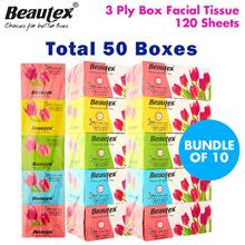 [Beautex] ★ 50 Boxes • 3 Ply Box Facial Tissue 120 Sheets Per Box ★