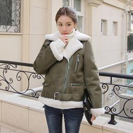 アークジェンムートンジャケット/フェイクファー/ルーズフィット/ハイネック/トレンディ/韓国ファッション