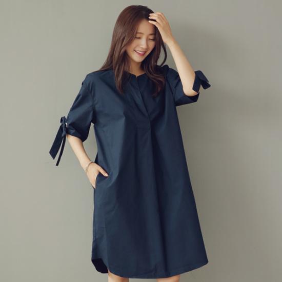 ビナインだフィールドリボンワンピース 綿ワンピース/ 韓国ファッション