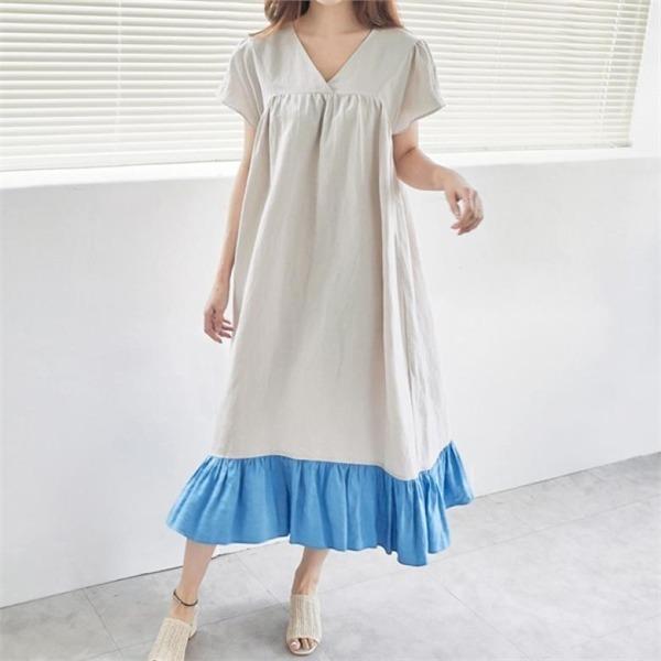 イニクとフリルOPSワンピースnew ロング/マキシワンピース/ワンピース/韓国ファッション