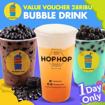 [DRINK] Hop Hop Value Voucher 28K /Hop Hop Bubble Drink Deals for only Rp26.000 instead of Rp26.000