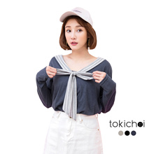 TOKICHOI - Striped Bow Tie Top-172448-Winter