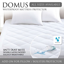 DOMUS Fitted Waterproof Mattress Protector + Pillow / Bolster Protector