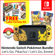 [Free Shipping]Nintendo Switch Console System  Pokemon lets Go Pikachu/Eevee Edition Local Maxsoft Set // Free Labo Variety Set