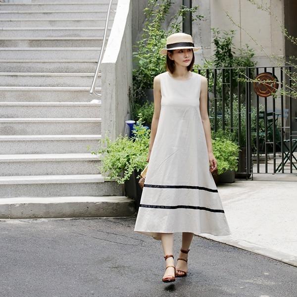 リンネンAラインロングワンピースnew ロング/マキシワンピース/ワンピース/韓国ファッション