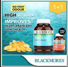 $10 OFF+FREE GLUCOSAMINE 90 TABS!! 1+1 400 CAPS+400CAPS! BLACKMORES Odourless Fish Oil 1000 400caps