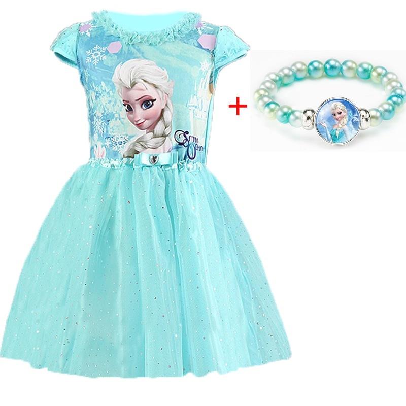 3-8 Years Summer Baby Girl Dress Princess Vestidos Fever Anna Elsa  Dress