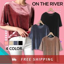 [ONTHERIVER] Serene Bling Velvet Short Sleeve T-Shirt