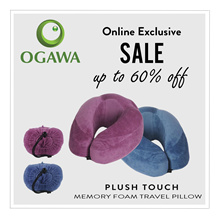 OGAWA Plush Touch - Luxurious Travel Pillow with MEMORY FOAM Cushioning