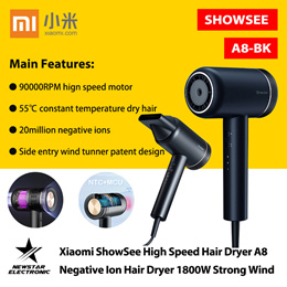 Xiaomi ShowSee High Speed Hair Dryer A8 Negative Ion Hair Dryer 1800W Strong Wind Anion Styling Tool