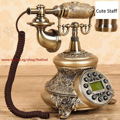 Size : B Retro Phone Old Single Double Ring Phone Embossed Resin Fashion Antique Telephone European Retro Cloth Rope Wired Creative Telephones