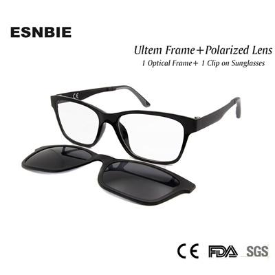 05871c926e ESNBIE New Memory Ultem Nerd Glasses Frame with Magnetic Clip on Polarized  Sun Glasses Lens Women