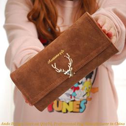 Women pu leather long wallet three fold deer head 2018 new fashion cool style purse girls