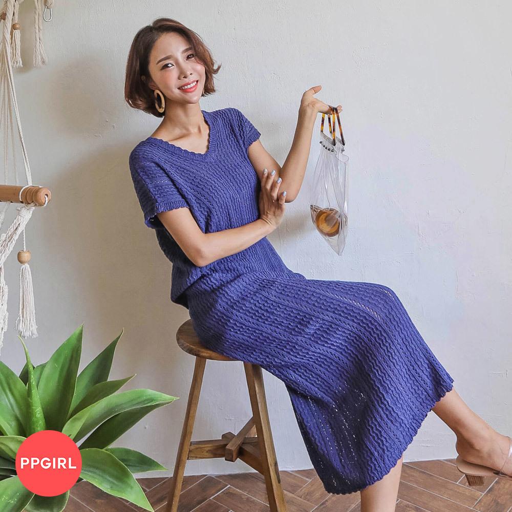 [PPGIRL官方旗艦店] 針織套裝(V領上衣+長裙) C525