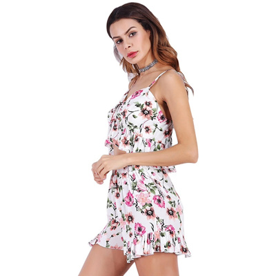 be0b6e1cd5b5 Women Shorts Set Summer Sexy V Neck Tie Sleeveless Floral Ruffles Crop Top Shorts  Two Piece