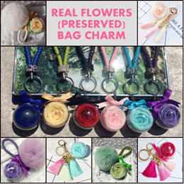 Enchanted Rose Bag Charm Keychain Rose Keychains Preserved Rose Furball Fringe Charm Flower Keyring