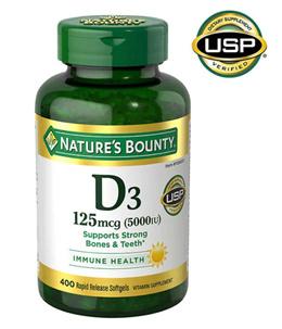 네이쳐스바운티 비타민 D3 (무료 배송!!) Vitamin D3 125 mcg 400 Softgels