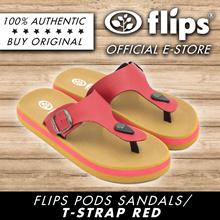 ★RESTOCK★[Flips™]★RED T-Strap Flips Pods Sandals/Unisex Sandal/Contoured Footbed/Comfort Sandal
