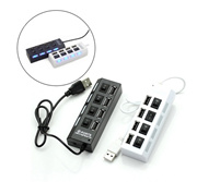 4 Port USB 2.0 External Multi Expansion 480 Mbp with ON OFF Switch indicator Led