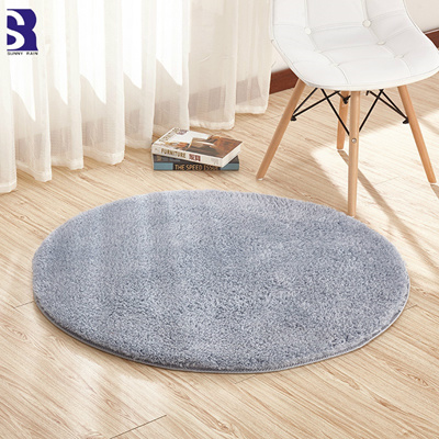 Qoo10 Sunnyrain Solid Color Shaggy Floor Round Carpets And Rugs