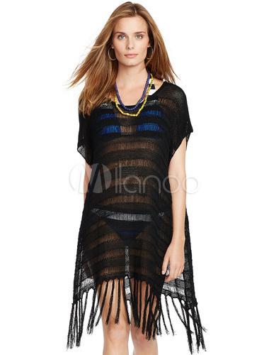 3cc12e4f5fcfb Qoo10 - Black Cover Up Fringe Semi-Sheer Roman Knit Cover Up For ...
