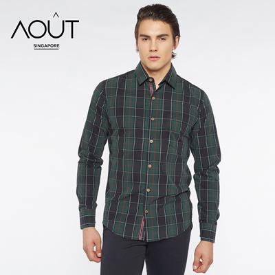 Marquis Men/'s Black Gingham Checkered Long Sleeve Modern Fit Shirt