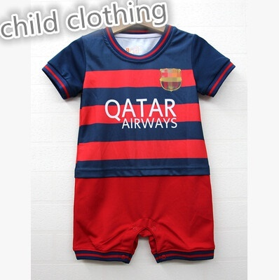 new product ae714 b0c17 Summer mesh baby Real Madrid Barcelona Soccer baby clothes hundred days a  year old sports photos Rom