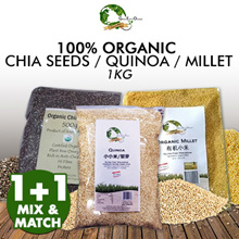1KG+1KG MIX AND MATCH! Certified Organic Chia Seeds / Quinoa / Millet / Oats