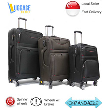 ★New colour★8 Wheel Softside Expandable Luggage Trolley Case / Suitcase with TSA Lock
