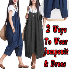 *Gift Wrapping*Loose Denim Jumpsuit  Haren Pants Sling Dress Cropped Trousers Women Jumpauit New