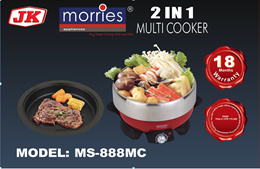 MORRIES 2 in 1 3L MULTI COOKER MS 888MC (STAINLESS STEEL POT/ NON STICK GRILL PLATE)