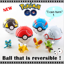 ★Reversible Pokemon Ball★Pokemon Go ★Free 1 Figurine! ★Can turn! Foldable★Action Figurine★Toy★Tsum Tsum Plush★Local Seller★NEW!★Cartoon character★Pikachu★