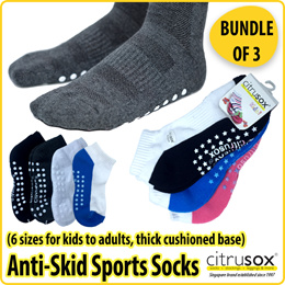 3 PAIRS Anti-Skid Cotton Ankle Cushioned Socks (available in Adults and Kids sizes)🧦