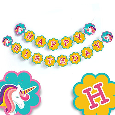 Qoo10 Boston Creative Company Unicorn Party Supplies Happy